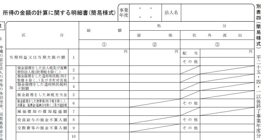 修正 申告 別表 4